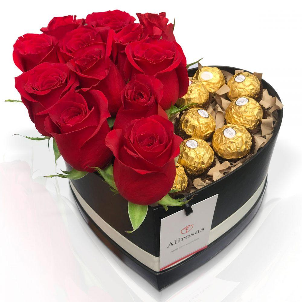 Box con 12 rosas rojas Amor arreglo floral
