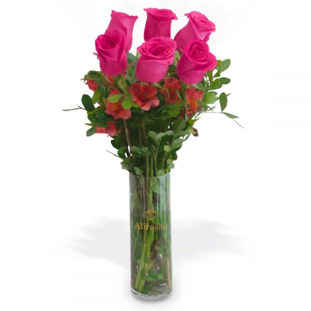 Florero con 6 rosas rosadas , Enviar por delivery