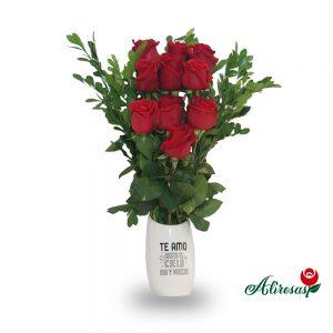 Florero de 10 rosas