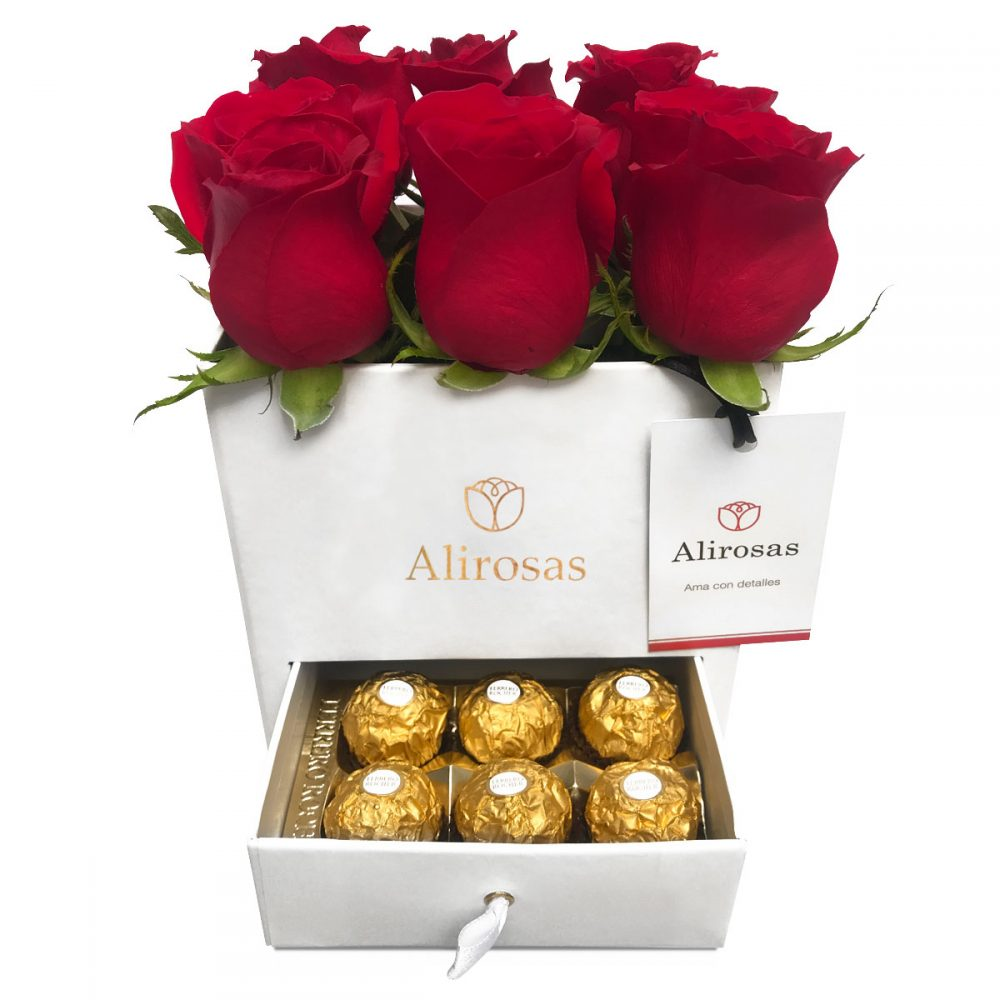 Cofre de 12 Rosas y 6 Ferrero