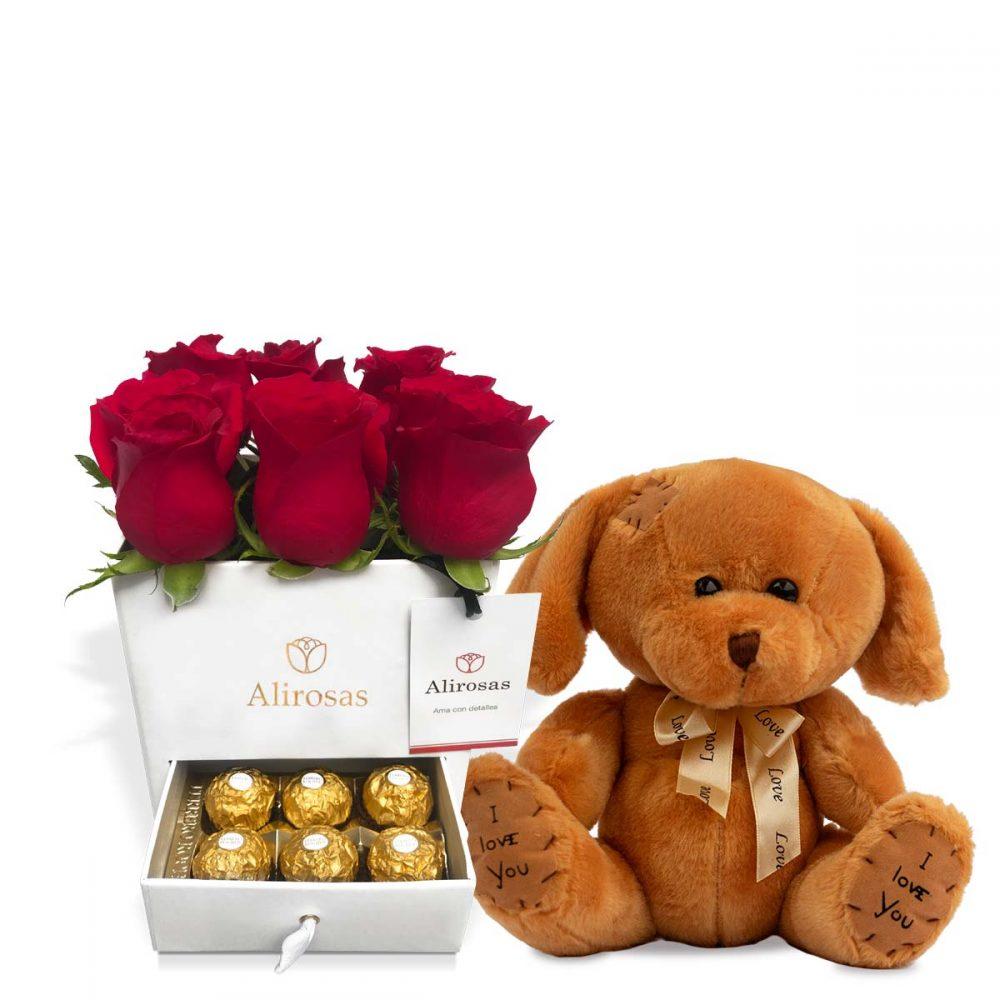 Cofre con rosas chocolates y peluche