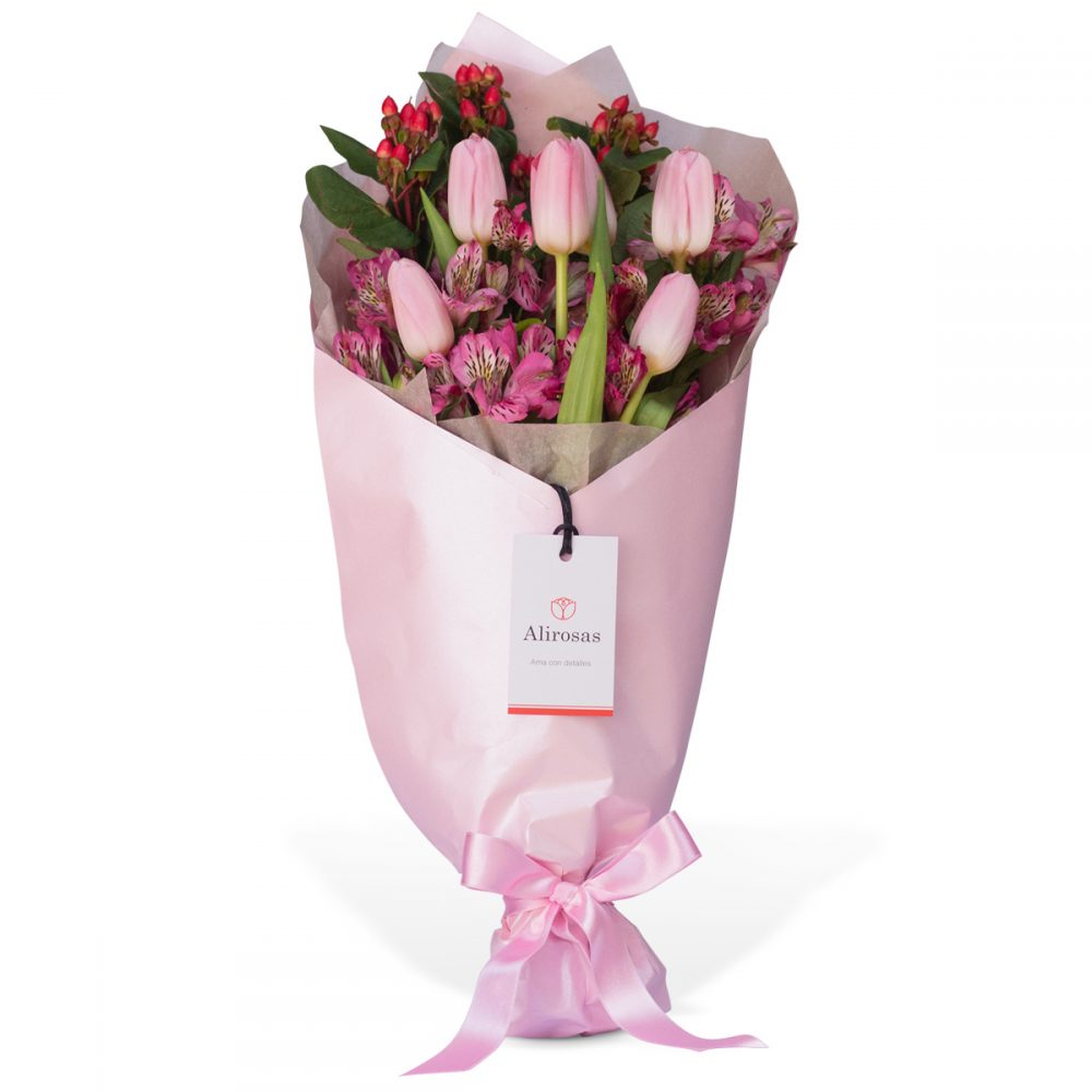 Ramo de 6 Tulipanes Rosados