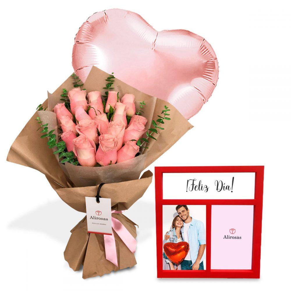Ramo de 9 Rosas rosadas arreglo delivery | Alirosas florería